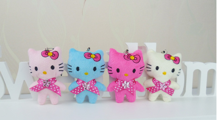 Super Sweet 4Colors - 5CM Hello Kitty Stuffed Plush TOY String Pendant DOLL ; Wedding Bouquet Kid's Gift Plush TOY DOLL(China (Mainland))