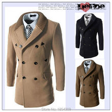 2015 HOT Fashion New Winter Mens Windproof Coat Double breasted Woolen Epaulet Long Business Classic wind breaker acket Outwear(China (Mainland))