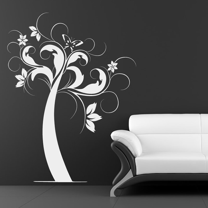 Nature Style Home Decor Self Adhesive Butterfly And Flower Tree Wall Sticker White PVC Waterproof Wall Decal For Living room