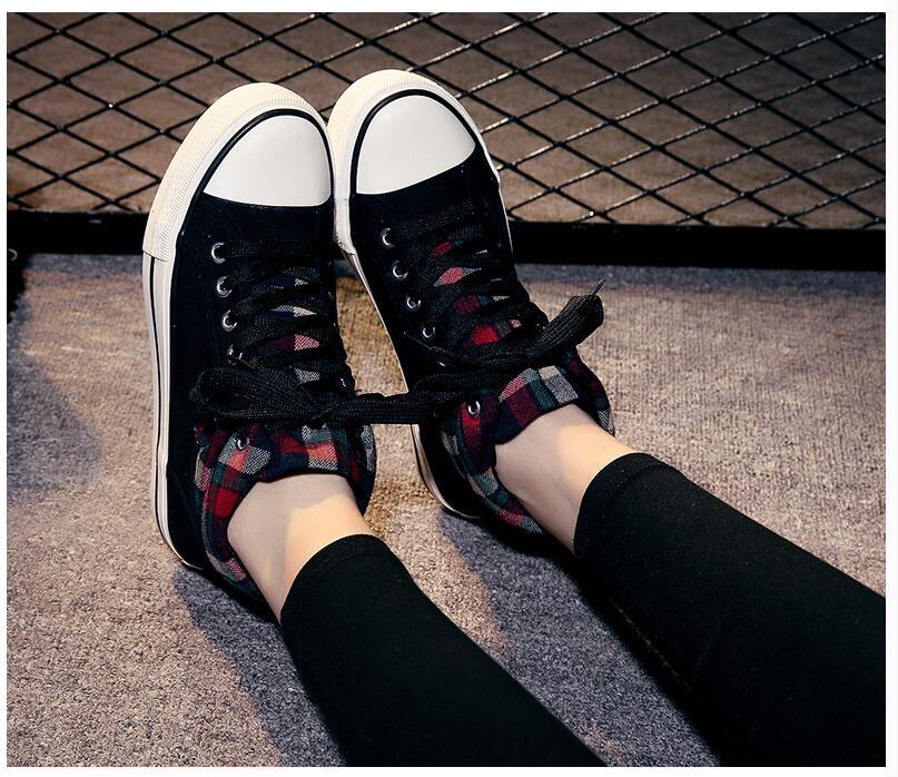 2016 Women Fashion Platform Canvas Shoes Woman Lace-up Casual Shoes Women Flat Walking Shoes Plus Size 35-40 Chaussure Femme