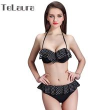 Micro Bikini Set Women Beach Bra Top Suit Ruffles Dot Sexy Swimsuit Summer Black Vintage Bathing Suit