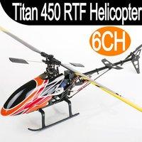 Titan 450 V2 RTF 6CH 2.4Ghz Remote Control 3D Align T-rex Single Blade Screw Propeller Gyro Servo Electric RC Helicopter