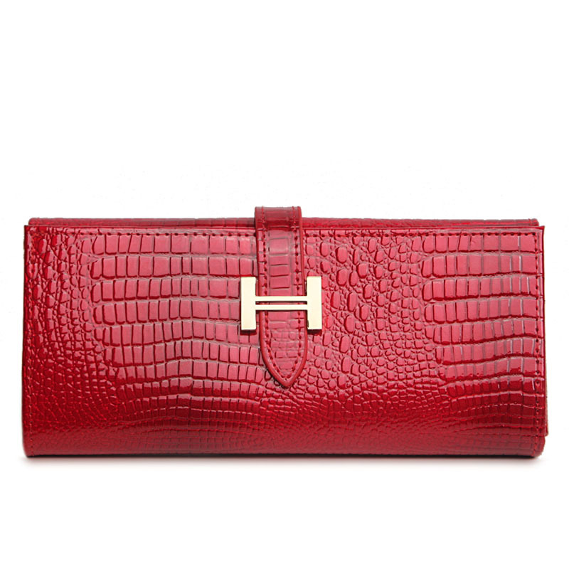 Luxury crocodile Genuine Leather women long wallet coin purse fashion leather wallet gift for girls(China (Mainland))