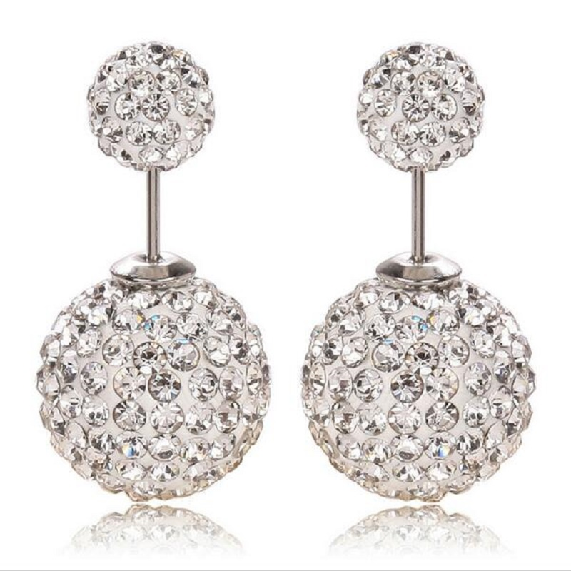 High Quality Drop shipping Hot Sale On Aliexpress Big and Small Double Crystal Stud Earrings For Women(China (Mainland))
