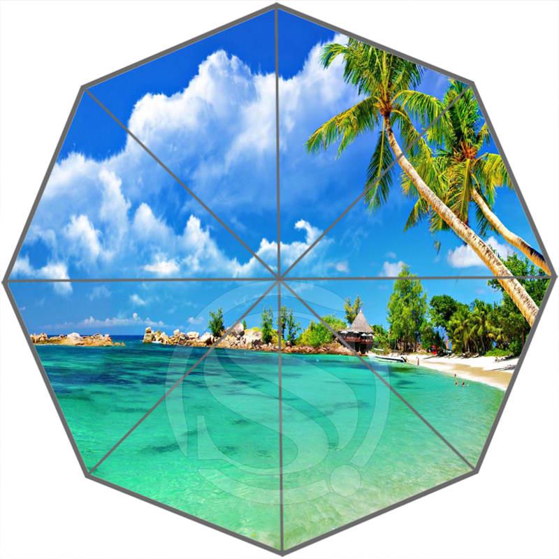 Caribbean beach Cool Custom Personalized Portable Triple Foldable Sun and Rain Umbrella Decorative Umbrellas SQ0624-LY88(China (Mainland))