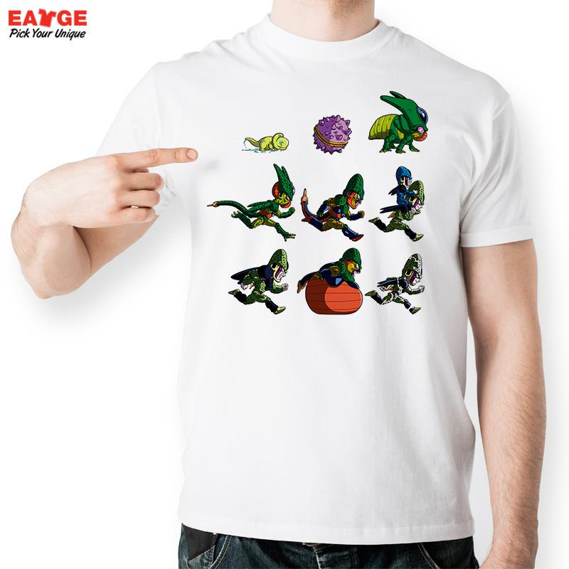Evolution Of Cell T Shirt Parody Dragon Ball Anime Design Fashion Creative T-shirt Casual Novelty Funny Tshirt Style Printed Tee(China (Mainland))