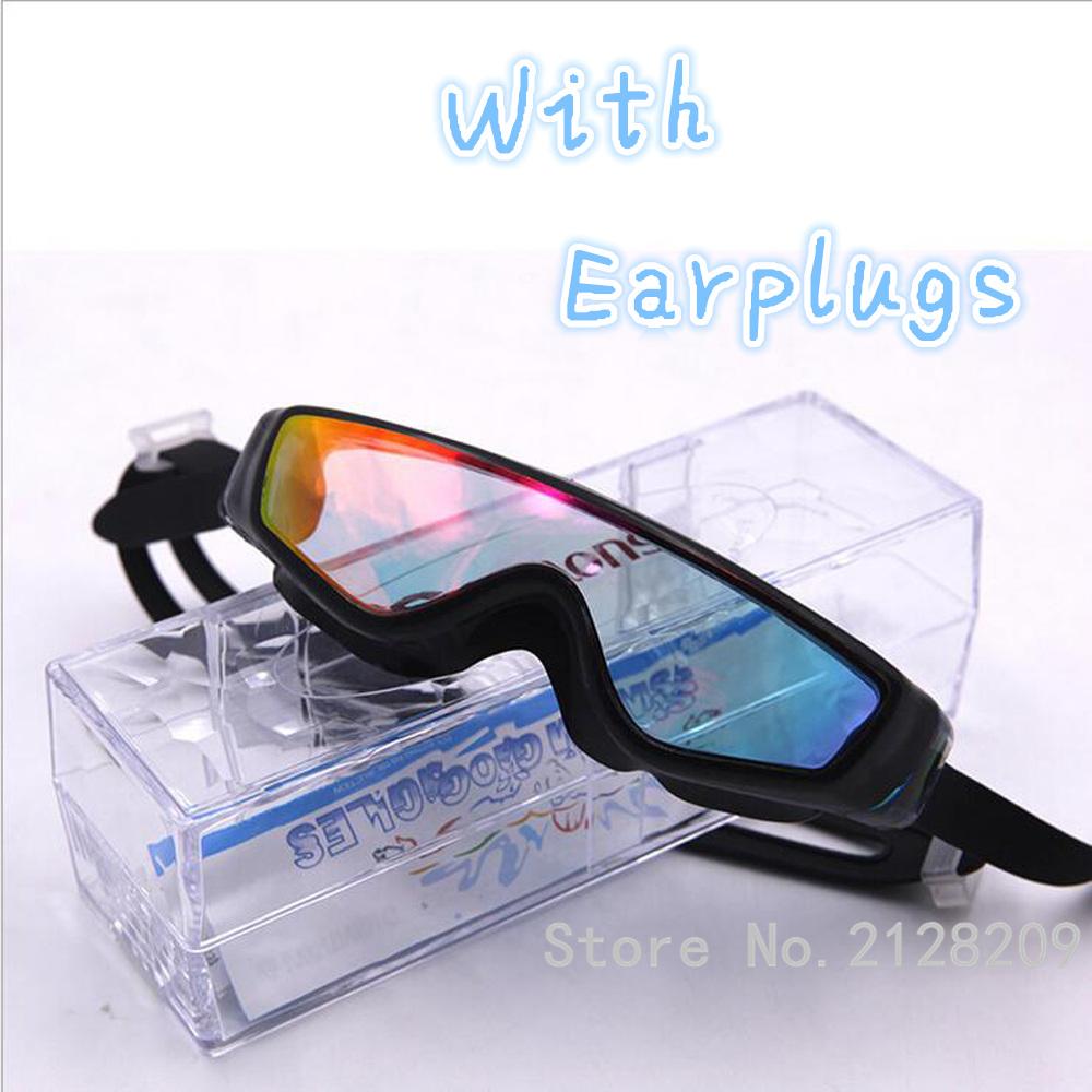 Electroplating Swim Goggle Anti UV Anti fog Waterproof Glass Unisex Swimwear Eyewear Earplugs Prevent Mist Ultraviolet SH-GL-02(China (Mainland))