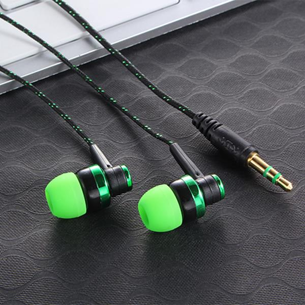 MP3 MP4 Wiring Subwoofer Headset Ear Braided Rope Wire Cloth Rope Earplug Noise Isolating Earphone Built-in Mic Handfree(China (Mainland))
