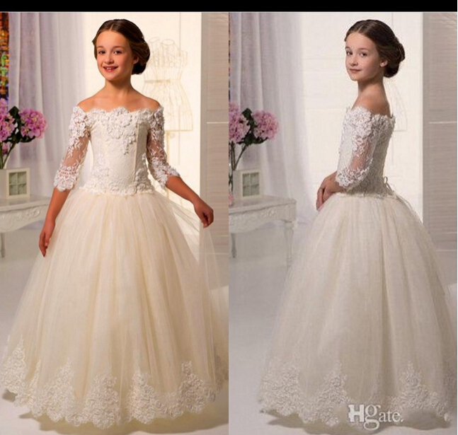 Ivory White Lace Appliques Long Sleeves Flower Girl Dresses For Weddings 2015 First Communion Dresses For Girls Pageant Dresses(China (Mainland))