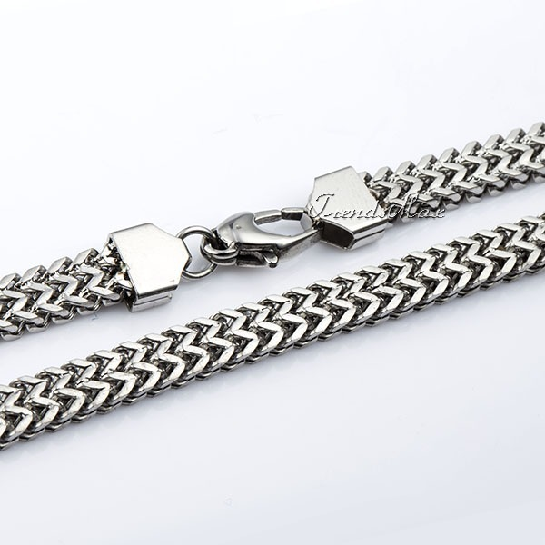 6mm Wide Mens Chain Boys DOUBLE FOXTAIL BOX Silver Tone Stainless Steel Necklace High Quality Jewelry Jewellery KNM87(Hong Kong)