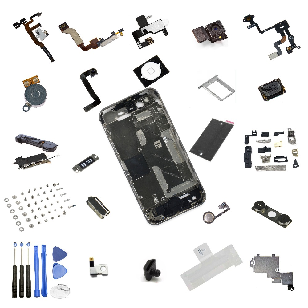 ! NEW INNER MIDDLE SILVER CHASSIS BEZEL FRAME & PARTS & 8PC TOOL KIT FOR IPHONE 4S
