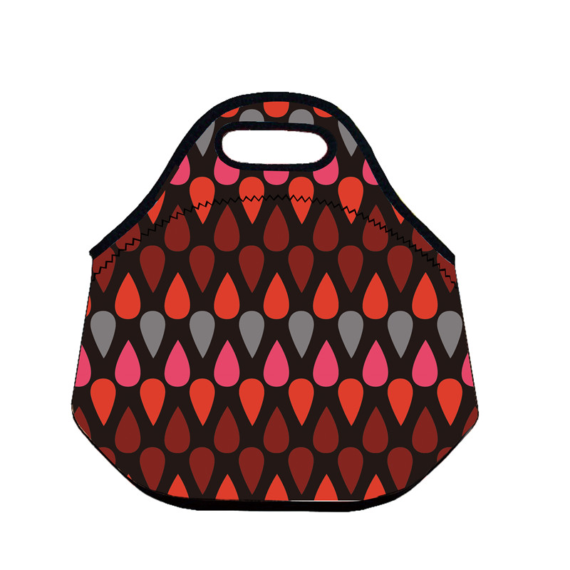 B433 Red Drops Neoprene Lunch Bag Thermal Insulated Cooler Picnic Bag Kids Lunch Storage Waterproof Portable Handbag Women Bag(China (Mainland))