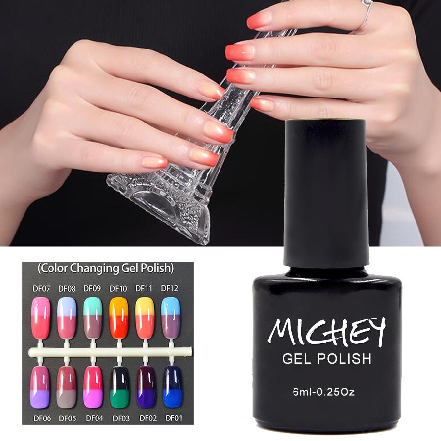 2016 New Brand MICHEY Thermo Nail Polish Long Lasting Led uv Gel Nail Polish High Quality Soak Off Nail Gel 1PCS Free Shipping(China (Mainland))