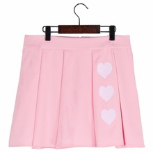 Buy Lychee Preppy Style Summer Women Skirt Cute Heart Embroidery High Waist Pleated Line Mini Skirt for $13.57 in AliExpress store