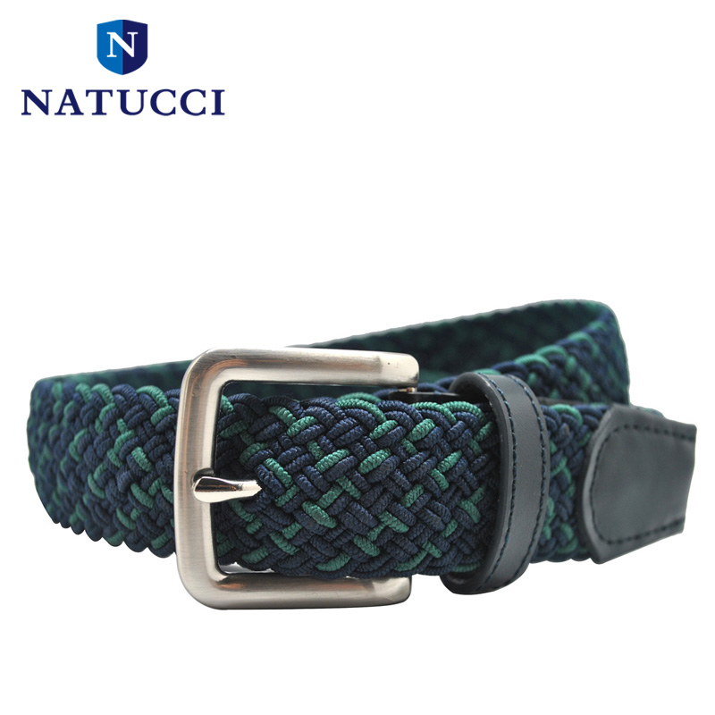 2016 New elastic webbing men belts hand knitted strap real leather tip pin buckle fashion braided belt(navy&green)(China (Mainland))