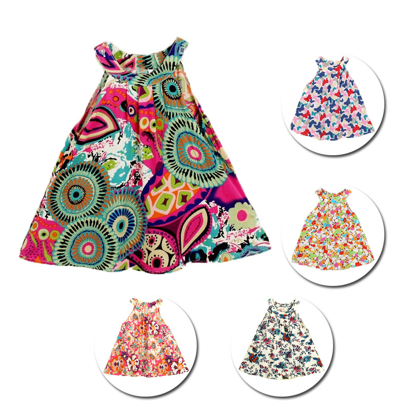 2 To 8 Year Baby Girl Summer Style Flral Print Cotton Casual Party Dress 18 Pattens Kid Girls Clothes Clothing Vestidos Infantis(China (Mainland))