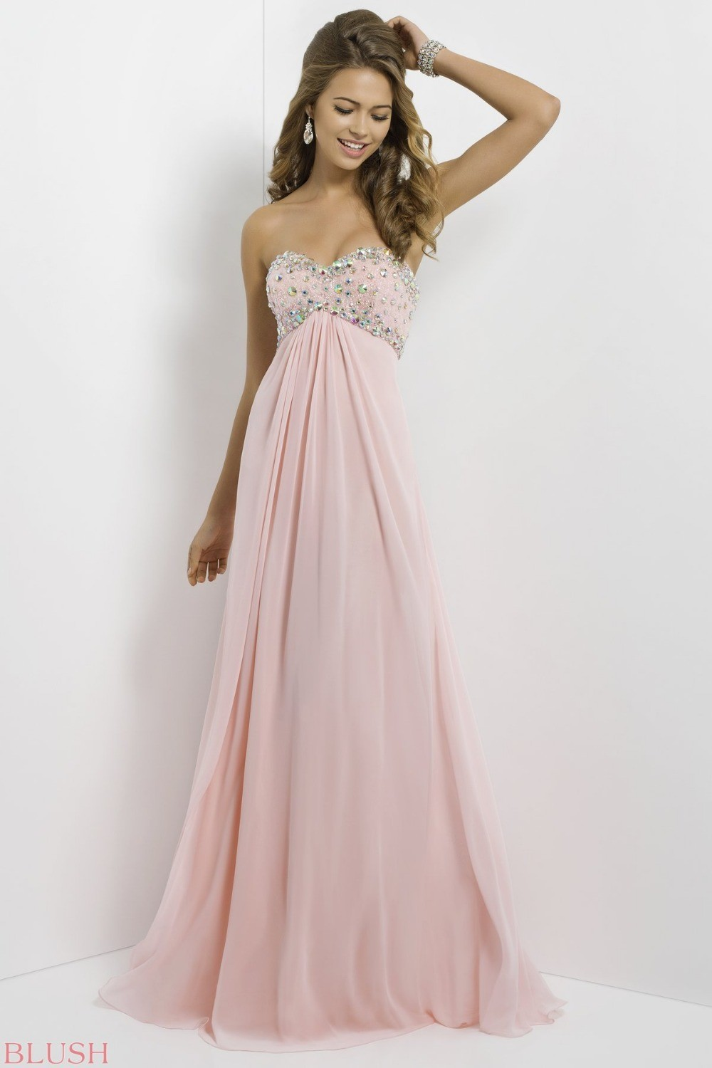 Cheap Sweetheart A Line Floor Length Pink Prom dresses ...