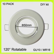 DIY easy install 10 PACK GU10 holder MR16 frame GU5.3 bracket metal white chrome finish led spotlight round dia50mm(China (Mainland))