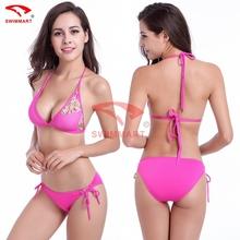 2015 New Sexy Triangle Bikini Set Candy Colors Patchwork Swimwear Europe USA Bikini Cover Skirt Beachwear Three Piece Suits