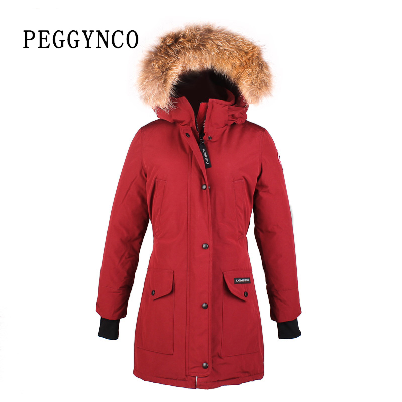 Dark Red Women Polyester Padding Wide-Waisted Real Raccon Fur Parka Peacoat with Woven Patch Down Walking TopCoat(China (Mainland))