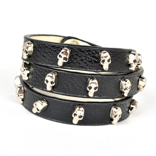 Artilady fashion gold plating skull head pu leather bangle bracelet skeleton with valentine's gift