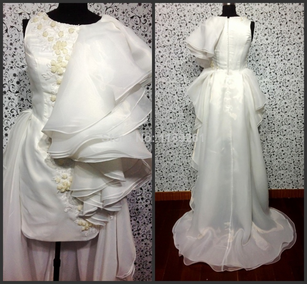 Real sample hot sale cap sleeve applique beaded white for High low wedding dresses for sale
