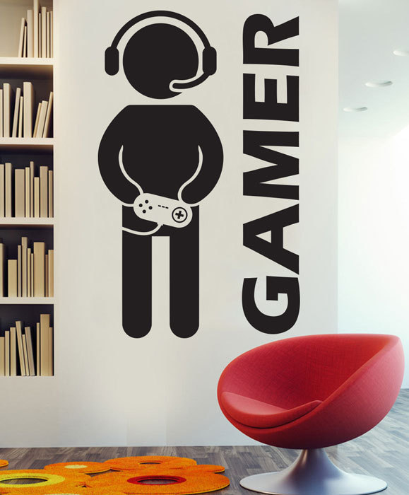 Video game gaming gamer wall decal art decor sticker vinyl for Stickers para decorar paredes infantiles