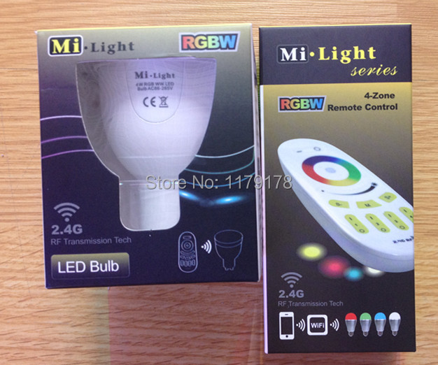 New 2pcs 2.4.G Dimmable Wirelss RGBW LED GU10 Spotlight 4W AC85-265V With 1pcs  RGBW Remote Set Free shipping <br><br>Aliexpress