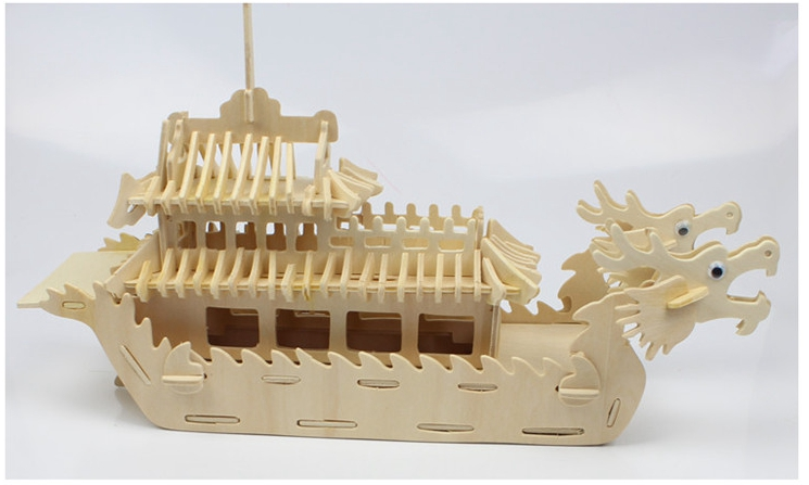 Scale Educational Toys Dragon Boat Wooden Model 3D DIY Puzzle(China (Mainland))