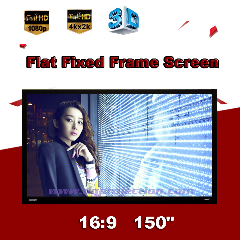 150 inch 16:9 Luxury Flat Fixed Frame Projection Screen DIY Wall Mounted highly Brightness For Home Cinema 3D Display Metal Soft<br><br>Aliexpress