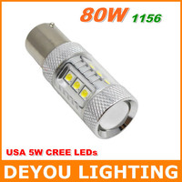 2pcs CREE XBD 80W 1156 LED Backup Reverse Turn Singnal Light Lamp  12V 24V Xenon White S25 P21W  BA15S 7506 1year warranty