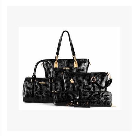 6 Bags/Set Fashion Women Leather Handbag Royal Stone Women Messenger Bags Crocodile Pattern PU Leather Shoulder Bags(China (Mainland))