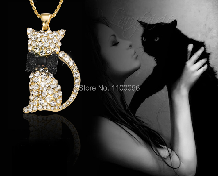 Free Shipping Cheap Jewelry Rhinestone Animal Necklace Wholesale Gold Chain Necklace Sexy Cat Pendants Necklaces For Women T1324(China (Mainland))