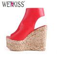 WETKISS 34 43 Bohemia Plaited Straw Wedges Ankle Wrap Cutouts Sandals High Heels Platform Sandals Summer