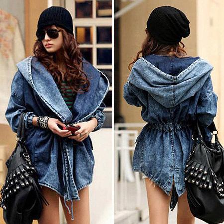 2015 New Fashion autumn winter Women s Denim Coat Hoodie Coat Hooded Adjustable Waist Outerwear Jeans
