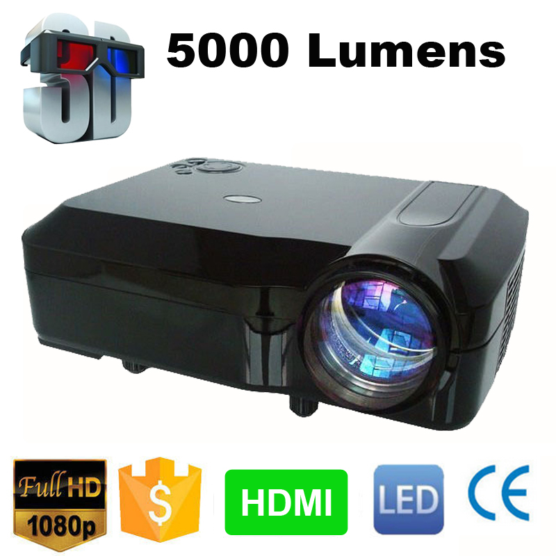 Cheaper 5000 Lumens LCD display HDTV Full HD LED 3D Projector 1280*800 1080P multimedia home theater system 50,000hrs led lamp(China (Mainland))