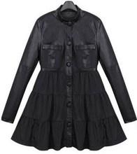 4XL Plus Size Women PU Leather Jacket Windbreaker Puff Trench Dress Jaqueta Couro Autumn Patchwork British Style Trench Coat(China (Mainland))