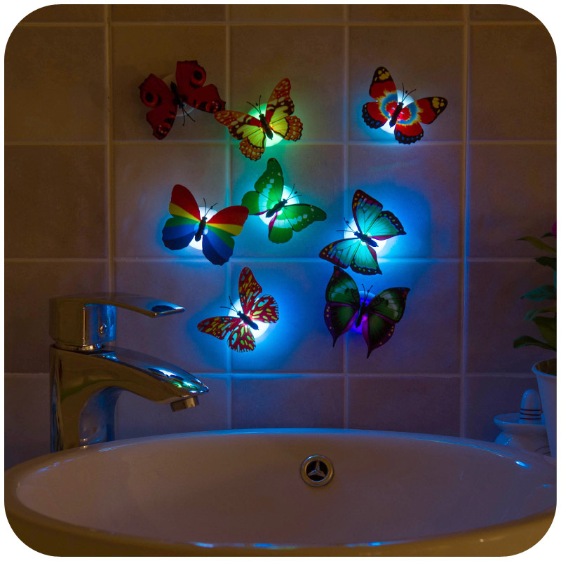 1 Novelty Pasting Colorful Baby Bedroom Bedside Lamp LED Night Light Butterfly Lights Children Birthday Christmas Decor - Marry Chen's store