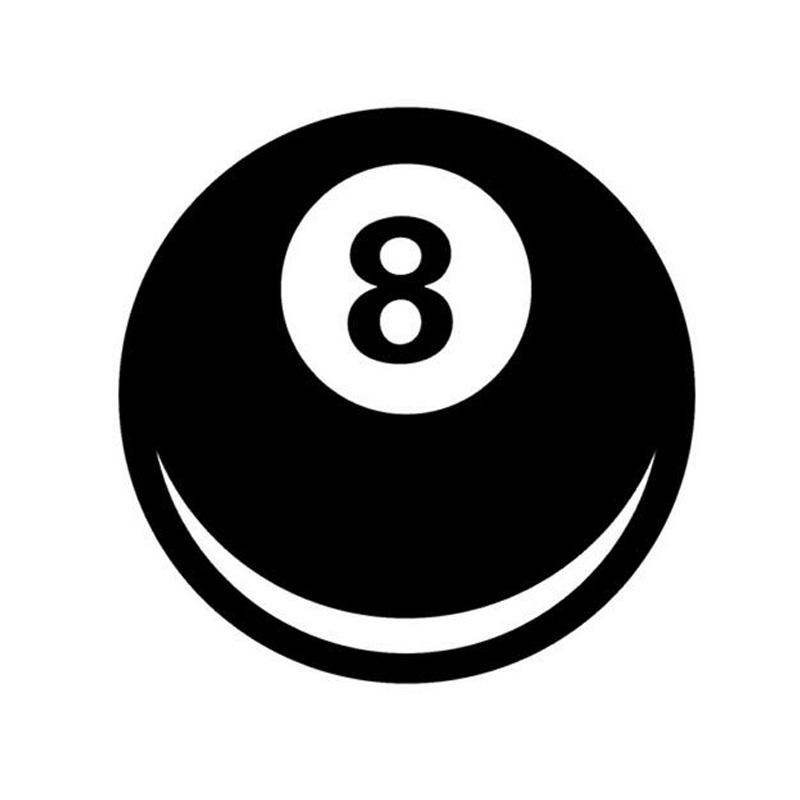 10*10CM 8 Ball Magic 8 Ball Fun Decorative Decals Car Stickers Car Styling Black/Silver C1-0033(China (Mainland))