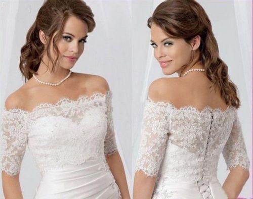 Inform Newly Design Sexy Off Shoulder Lace Bolero Jacket Half Sleeve Bridal Wedding Shawls 2016(China (Mainland))