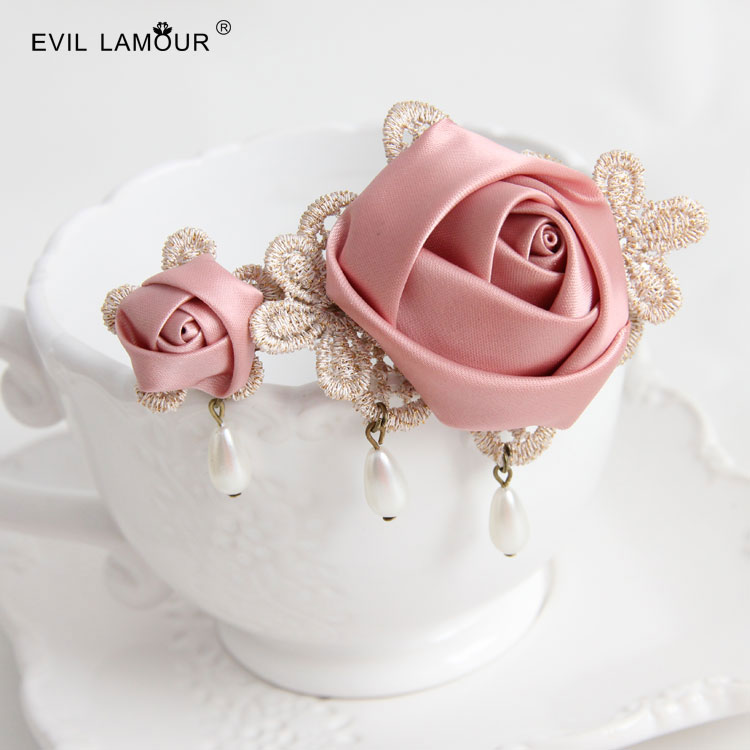 Vintage classic lady hair clip Sen series Pink Rose Pearl hand hairpin clip spring clip jewelry(China (Mainland))