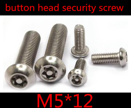 100pcs M5*12 M5 x 12 Stainless Steel A2 Torx Security Screws ,6-lobe anti-theft screw,M5 button head torx screw with point(China (Mainland))