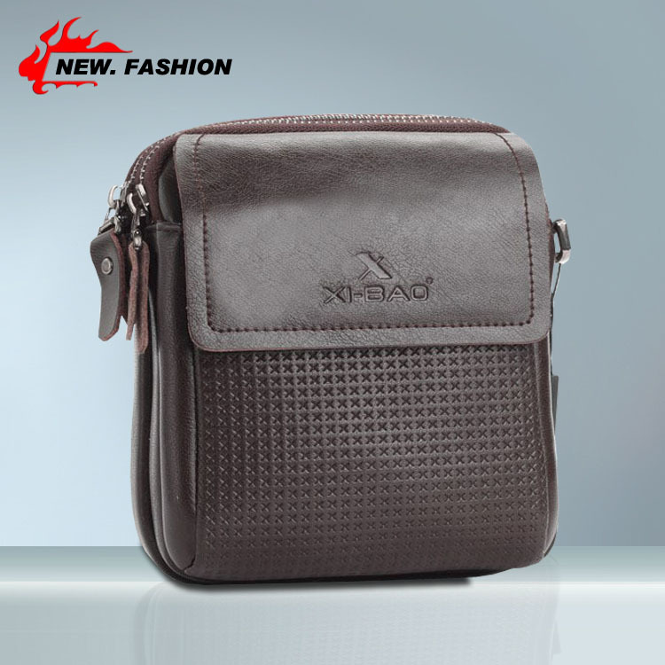 Hot Sale Fashion Vintage Casual Plaid Cover Genuine Leather Men Shoulder Bag Small Messenger Bags Brown Free shipping 152234(China (Mainland))