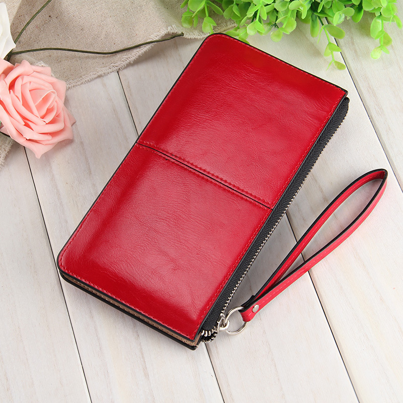 Famous brand Oil wax leather Women clutch wallet Long zipper wallets female candy color purse lady Multi-function phone bag(China (Mainland))