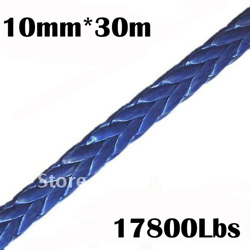 New Strong 100% UHMWPE Synthetic Winch Cable/Rope 10MM*30Meter for 4WD/ATV/UTV/SUV Winch Use////free shipping