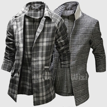 2015 Autumn winter fashion Lapel single-breasted grid wool jackets men casual slim Square lattice Wool overcoat for men M-2XL(China (Mainland))