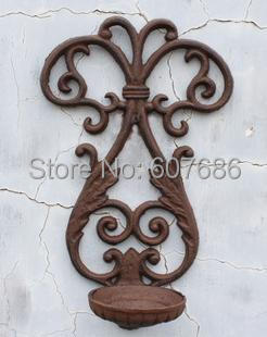 2 pcs/lot Wall Mounted Sconce Cast Iron Candle Holder Rustic Metal Wrought Iron Country Rural Wall Decoration DHL Free Shipping