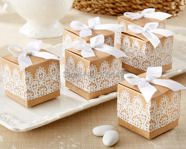 (100PCS/LOT) Creative Gift box Rustic & Lace Kraft Favor Box With Ribbon Wedding and Party Decoration Candy box paper boxes(China (Mainland))