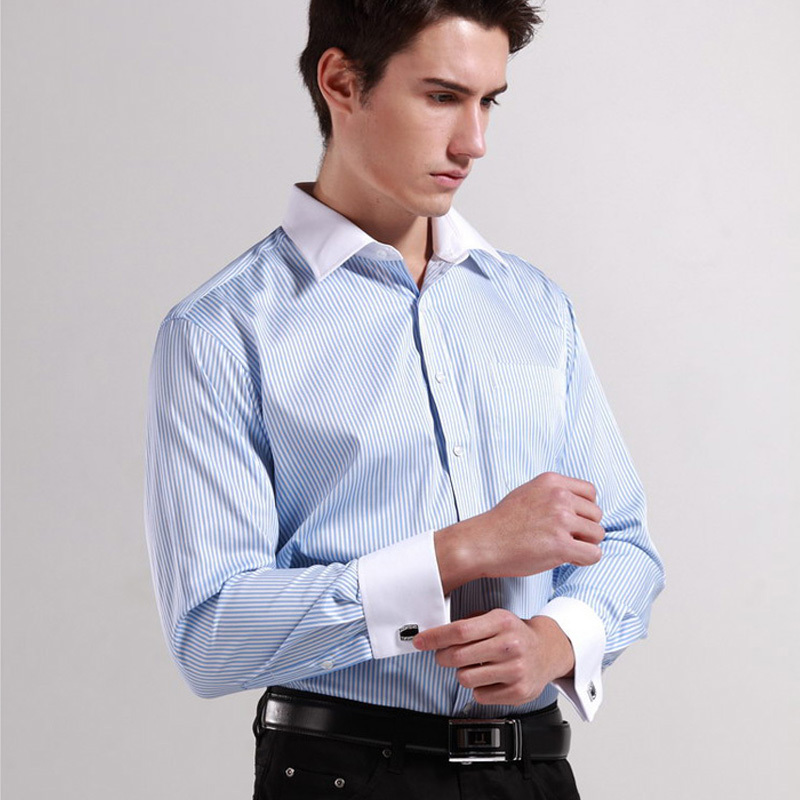 High quality mens classic french cuff shirt brand formal for Mens dress shirts french cuffs