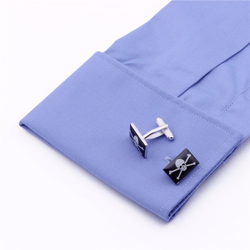 Products  Black Enamel Skeleton Skull Square Best Cuff Links High Quality